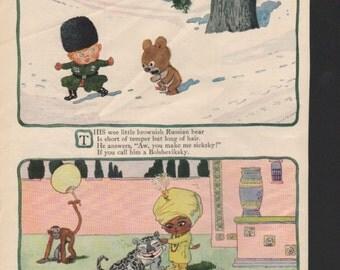 "Original Good Housekeeping cartoon ""Near-to-Nature Babies"" by James Swinnerton 1930s, 8x11 in. - Kids208"