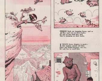 "Original Good Housekeeping cartoon ""Canyon Kiddies"" by James Swinnerton 1930s, 8x11 in. - Kids 726"