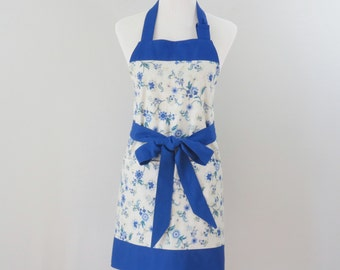 Womens Blue Floral Apron with Large Pockets and Adjustable Neck Tie and Optional Personalization, Plus Size Option