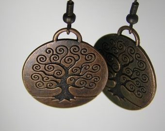 Rustic Copper Metal Tree of Life Medallion Earrings ~ Earth Element Round Earrings, Natural Mystical Tree Jewelry, Wiccan Pagan Earrings