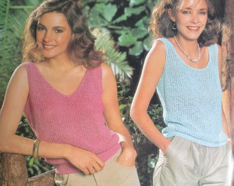Womens vintage knitting pattern vest sleeveless summer top pdf INSTANT download pattern only pdf
