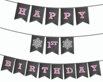 Winter ONEderland Banner - Printable Banner - Personalize with 1 name - Snowflake Banner - Winter Wonderland Banner