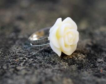 Off White Rose Flower Adjustable Ring
