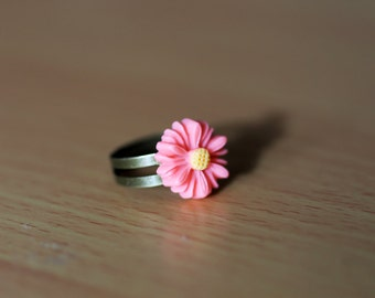 Pink Daisy Flower Adjustable Ring