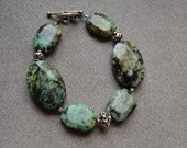 African Turquoise, Sterling Silver 7.5 Inch Bracelet with Sterling Silver Toggle Clasp