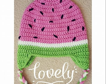 Crochet Watermelon Hat Hand Made