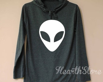 Alien Shirt Long Sleeve Hoodie TShirt T Shirt Unisex - size S M L