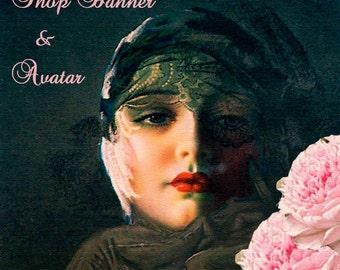 Etsy shop banner, Midnight Rose, blank file, instant download, pinup, flapper hat,black lace veil hat, pink peonies, elegant vintage lady