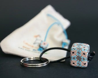 Leather and polymer clay Keychain handmade in Spain