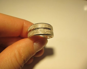 Fine silver Vintage band ring, size 8