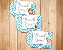 Frozen Thank You Tags, Printable Frozen Gift Tags, Frozen Party Favor Tags - Frozen Hang Tags- Elsa - Olaf - Anna - Instant Download