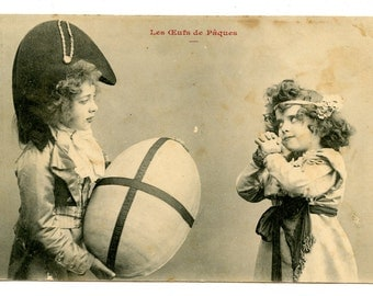 Darling 1905 French Easter Postcard Little Girl Boy Children Giant Egg