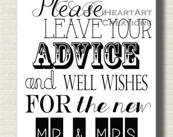 """Advice Sign for Wedding 8x10"""" Digital Download"""
