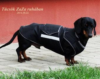 Dachshund Dog Raincoat - Black Dog Jacket - Custom Dog Coat - Waterproof Dog Clothes - Dog Rain Coat - Custom-fit for your dog