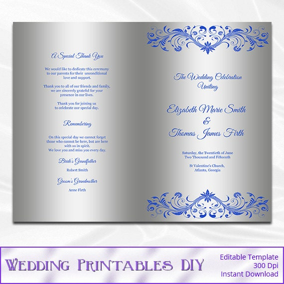 royal blue and silver wedding program template diy silver. Black Bedroom Furniture Sets. Home Design Ideas
