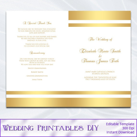 gold wedding program template diy gold foil striped church. Black Bedroom Furniture Sets. Home Design Ideas