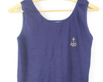vintage shirt top tank size S maritime anchor nautical