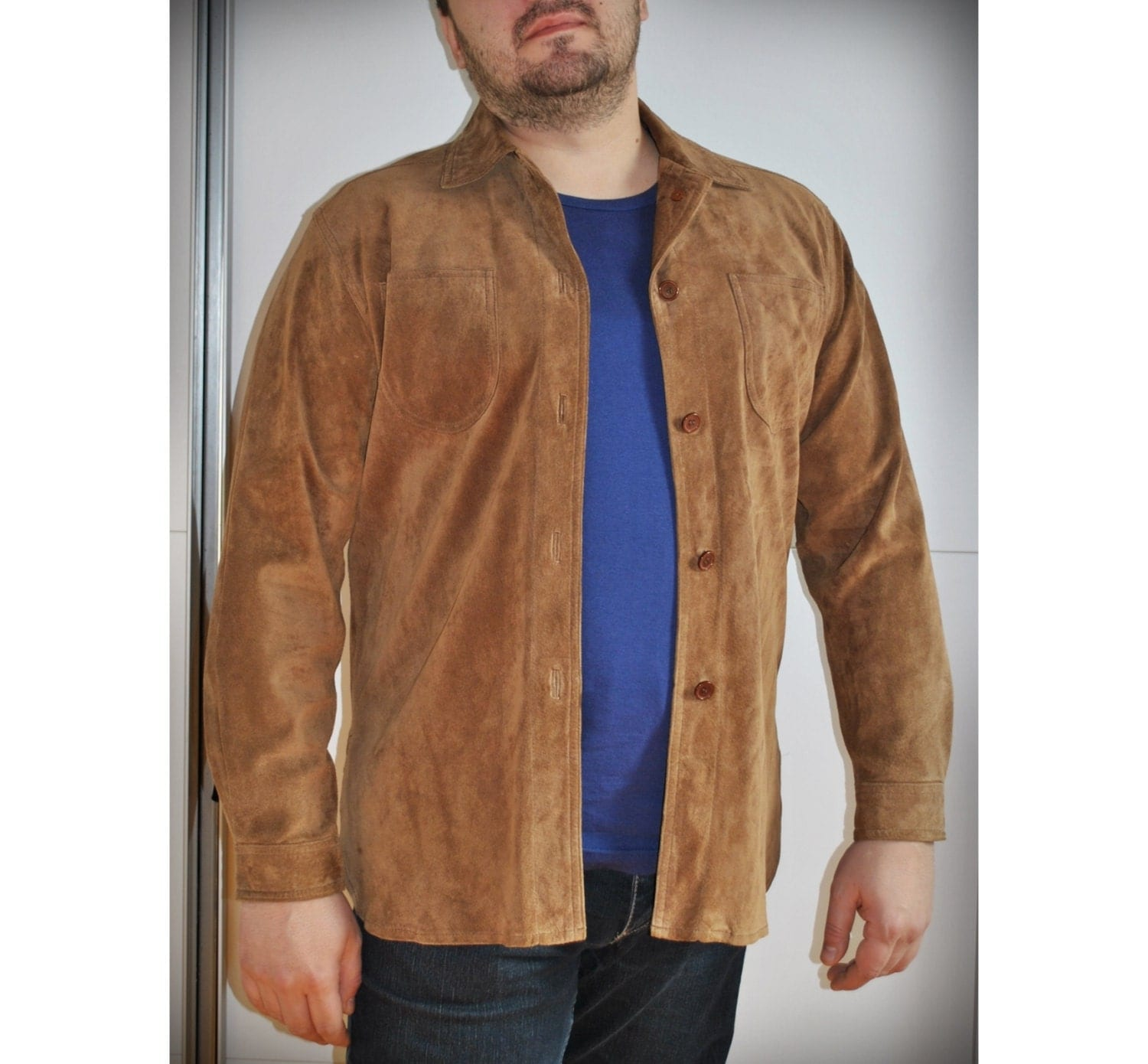 Vintage Men Suede Leather Shirt Long Sleeve Shirt Jacket