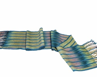Hand Woven Gradient Scarf - Color Pooled Lunasea with Stripes