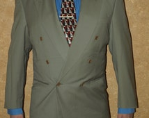 FREE SHIPPING]Blazer CERRUTI 1881 100% Wool Made in Italy Size 52 Long Smill Fit sand light gray green double breasted vintage mens blazer