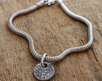 Silver Flower Bracelet - Silver Flower Charm Bracelet - Sterling Silver Bracelet - Flower Charm Bracelet - Silver Floral Charm Bracelet