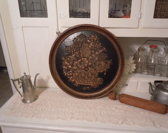 190 -Vintage -CopperCraft -Wall Hanging -Round -Black & Copper