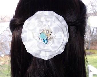 Fabric Flower Hair Clip White Satin Custom Center Choose Your Color Rhinestone Pearl Hair Accessories Hair Clip Flower Girl Hair White Satin