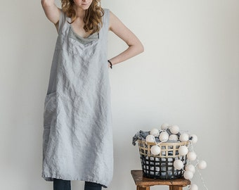 Linen pinafore apron / Square cross linen apron / Japanese style apron / Washed ice blue/silver grey long linen apron / No ties apron