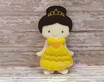 Belle Felt Paper doll, unpaper doll, felt doll, pretend play, dress up doll, quiet play, flat doll, travel toy, felt non paper doll