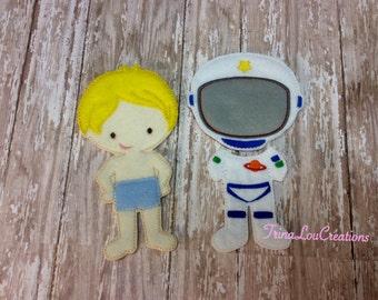 Astronaut Felt Paper Doll unpaper doll felt doll flat doll pretend play dress up doll quiet play travel toy