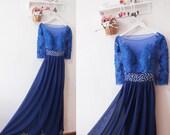 Lace Prom Dress,Long Sleeve Prom Dress,Royal Blue Sexy Prom Dress Evening Formal Dress,Graduation Dress,Lace Bridesmaid Dress,Prom Dresses