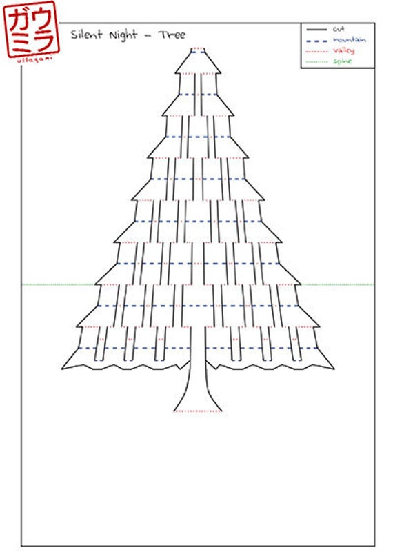 diy template silent night christmas tree card by ullagami on etsy. Black Bedroom Furniture Sets. Home Design Ideas