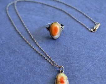 Vintage Blister Pearl Sterling Silver Ring and Necklace Set