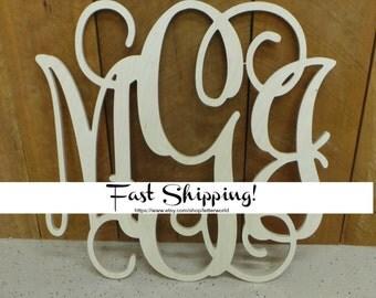 Unpainted Wooden Monogram - Ready to Paint Vine Script Monogram - Monogram Wedding Guest Book - Monogram Wall Hanging - Monogram Door Hanger