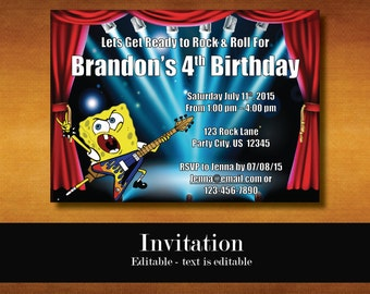 Spongebob Invitations, Spongebob Birthday Invitations, Spongebob Party Invitations, Spongebob Party, Spongebob Invitations