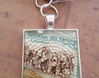 Postage Stamp Resin Silvertone Pendant Necklace