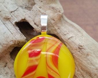 Fused Glass Cabochon Pendant, Yellow and Orange