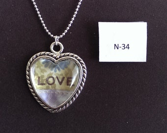 LOVE heart pendant and chain necklace