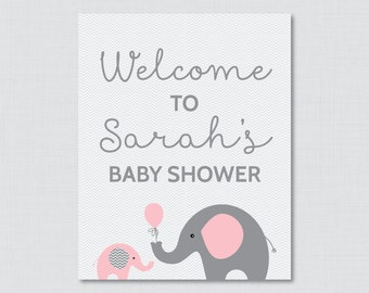Baby Shower Welcome Sign Printable Personalized Shower Welcome Sign - Pink and Gray Elephant Baby Shower Sign - Welcome Sign - 0024-P