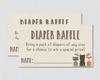 Woodland Baby Shower Diaper Raffle Ticket Cards and Diaper Raffle Sign Printable Instant Download - Woodland Diaper Raffle - 0010