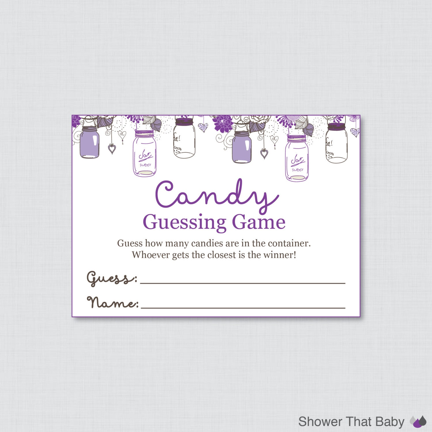 Mason Jar Baby Shower Candy Guessing Game Printable Purple