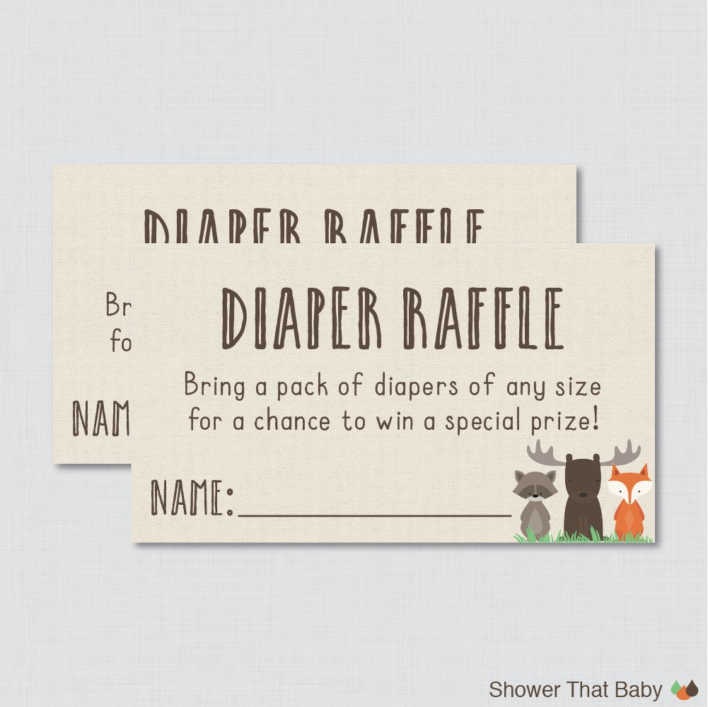 woodland baby shower diaper raffle ticket cards and diaper 128270zoom