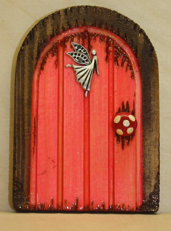 Handmade pink wooden fairy door with a guardian by 2wigglefish for Wooden fairy doors that open