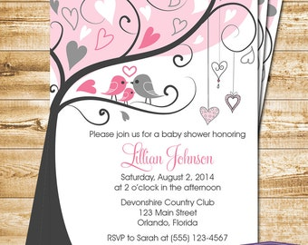 Pink Baby Shower Invitation - Love Birds and Baby Bird Baby Shower Invite - Girl Baby Shower Invite - Bird Family Baby - 1165 PRINTABLE