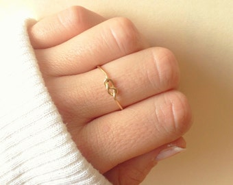 Infinity Knot Ring: Adjustable and Stackable Gold or Silver Rings, Tie Ring