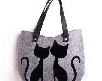 Women Felt bag Shoulder bag Felt purse Cat purse Women handbag Cat bag Ladies handbag Felted handbag  Everyday Bag Side bag Ladies bag