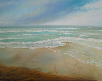 The shore of the Sea - Original Painting - Oil on Canvas - Marine Landscape - Painting by True - En Plein Air