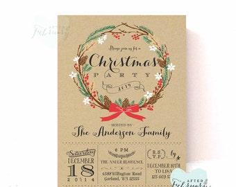 Holiday Party Invitation - Kraft Christmas Party Invitation - Christmas Invite - Printable Holiday Invitation - Printable No.519XMAS
