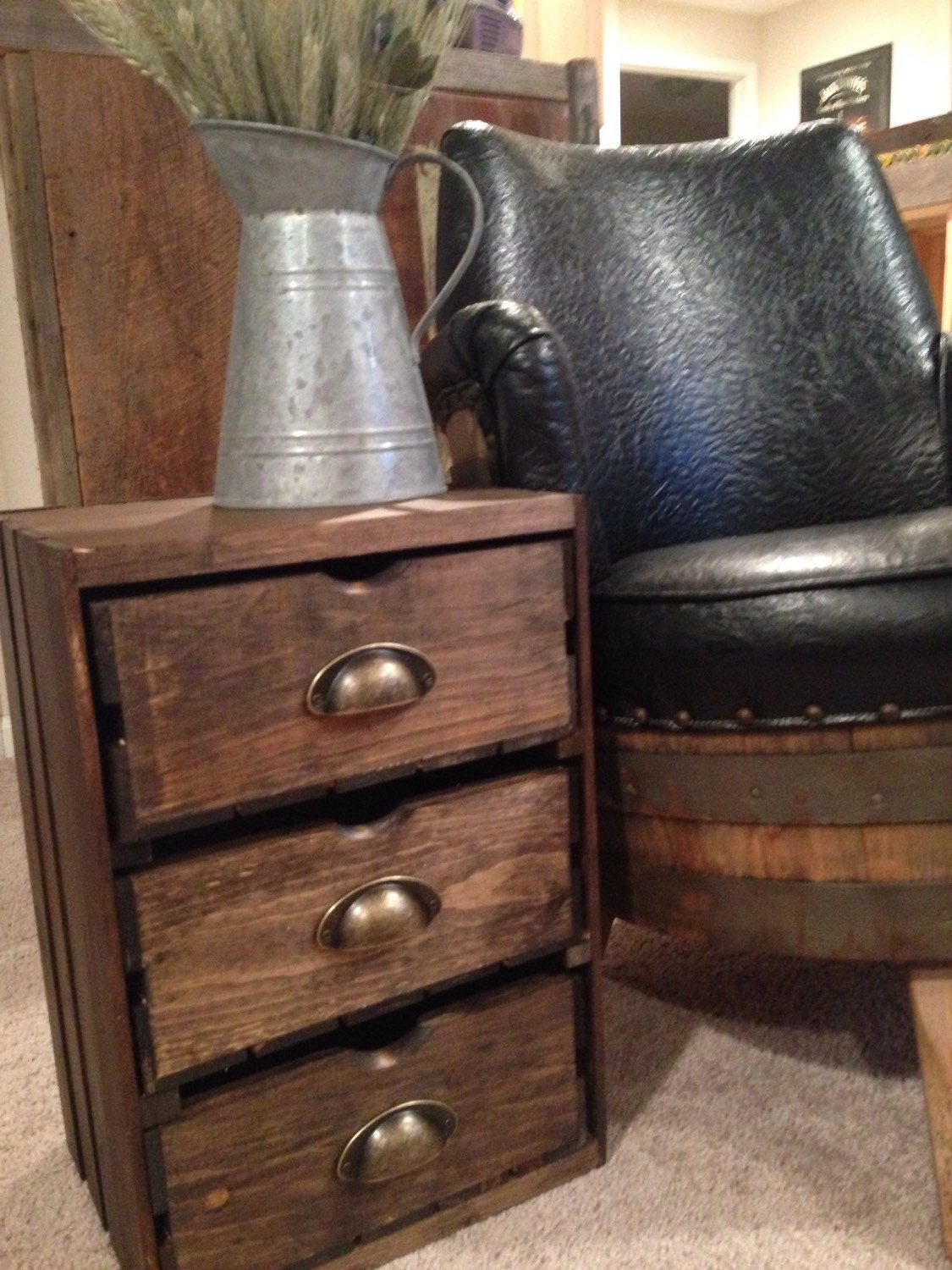 Wood Wine Crate Side Table End Table Farmhouse Furniture