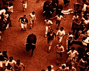 "Pamplona - Running of the Bulls Vintage Poster #9 - Canvas Art Poster 12""x 24"